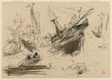 Jean-Baptiste Carpeaux (French, 1827-1875). <em>Shipwreck</em>, n.d. Iron gall brown ink (estimated) and black ink on laid paper, Sheet: 6 1/2 x 9 1/4 in. (16.5 x 23.5 cm). Brooklyn Museum, Helen Babbott Sanders Fund, 1991.66 (Photo: Brooklyn Museum, 1991.66_PS9.jpg)