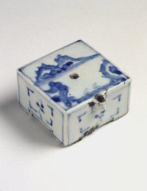 <em>Water Dropper</em>, last half of 19th century. Porcelain with cobalt blue underglaze decoration, Height: 1 7/16 in. (3.7 cm). Brooklyn Museum, Gift of the Estate of Charles A. Brandon, 1991.74.34. Creative Commons-BY (Photo: Brooklyn Museum, 1991.74.34.jpg)