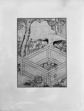 <em>Ehon Folio: Lovers Gazing into a Well</em>, 18th century. Woodblock print sumizuri-e, 14 1/2 x 11 1/2 in. (framed). Brooklyn Museum, Gift of Mrs. Nathan L. Burnett, 1991.75.8 (Photo: Brooklyn Museum, 1991.75.8_bw_IMLS.jpg)