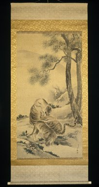 Kishi Chikudo (Japanese, 1826-1897). <em>Tigress with Cubs</em>, 1895. Hanging scroll, ink and light color on silk, overall: 93 x 39 3/4 in. Brooklyn Museum, Gift of Mr. and Mrs. Herbert Greenberg, 1991.76 (Photo: Brooklyn Museum, 1991.76_IMLS_SL2.jpg)