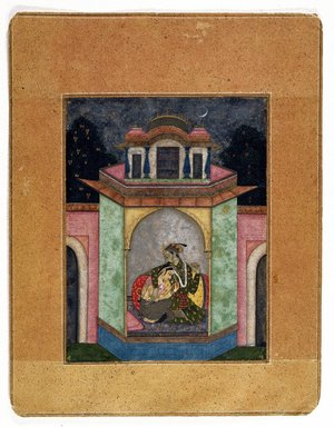 Attributed to Mohammed (son of Nur). <em>Dipaka Raga, Page from a Ragamala Series</em>, ca. 1690-1700. Opaque watercolor, gold, and silver on paper, sheet: 9 7/8 x 7 5/8 in.  (25.1 x 19.4 cm). Brooklyn Museum, Gift of Charlene and S. Sanford Kornblum, 1991.77 (Photo: Brooklyn Museum, 1991.77_IMLS_SL2.jpg)