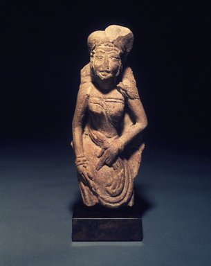 <em>Plaque of Standing Female</em>, 13th-14th century. Molded terracotta, 10 3/4 x 4 1/2 in. (approx.). Brooklyn Museum, Gift of Cynthia Hazen Polsky, 1991.79.5. Creative Commons-BY (Photo: Brooklyn Museum, 1991.79.5.jpg)