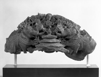 <em>Apsarases and Two Elephants</em>, 10th-11th century. Gray schist, height: 7 in. Brooklyn Museum, Gift of Ben and Roslyn Shepps, 1991.80.2. Creative Commons-BY (Photo: Brooklyn Museum, 1991.80.2_bw.jpg)