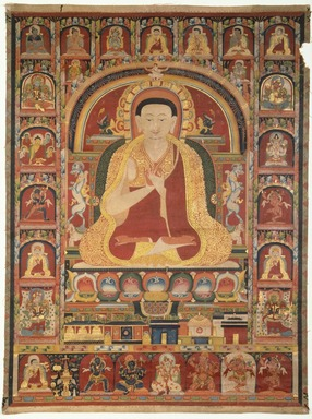 <em>Portrait of Taglung Thangpa Chenpo</em>, early to mid 14th century. Opaque watercolor and gold on cotton, 20 3/8 x 15 in. (51.8 x 38.1 cm). Brooklyn Museum, Gift of the Asian Art Council, 1991.86 (Photo: Brooklyn Museum, 1991.86_SL1.jpg)