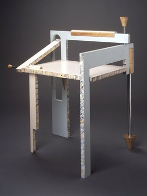 Tom Loeser (American, born 1956). <em>Folding Chair</em>, 1982. Wood, silvered metal, (a) Chair (open): 33 1/4 x 27 3/4 x 21 1/2 in. (84.5 x 70.5 x 54.6 cm). Brooklyn Museum, Gift of Mark Isaacson and Charles Stewart Smith Memorial Fund, 1991.92a-b. Creative Commons-BY (Photo: Brooklyn Museum, 1991.92a-b_transp5800.jpg)