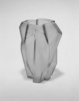 "Reuben Haley (American, 1872-1933). <em>""Ruba Rombic"" Vase</em>, ca. 1928. Non-lead glass, 6 1/4 x 4 7/8 x 4 1/2 in. (15.9 x 12.4 x 11.4 cm). Brooklyn Museum, Gift of Dianne Hauserman Pilgrim, 1991.96. Creative Commons-BY (Photo: Brooklyn Museum, 1991.96_bw_SL3.jpg)"