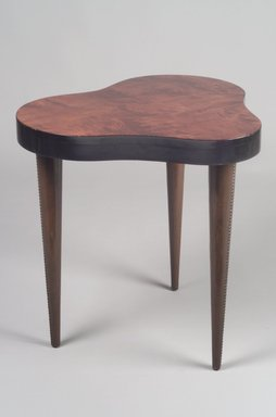 Gilbert Rohde (American, 1894-1944). <em>Occasional Table</em>, 1937-1941. Wood, wood veneers, metal, 27 x 27 x 21 3/4 in. (68.6 x 68.6 x 55.2 cm). Brooklyn Museum, Gift of Sanford L. Smith in memory of Mitchell R. Cutler, 1991.97. Creative Commons-BY (Photo: Brooklyn Museum, 1991.97.jpg)