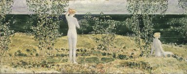 Frederick Childe Hassam (American, 1859-1935). <em>Montauk</em>, 1921. Oil on panel, 6 7/8 x 17 11/16 in. (17.5 x 45 cm). Brooklyn Museum, Bequest of William K. Jacobs, Jr., 1992.107.16 (Photo: Brooklyn Museum, 1992.107.16_transp402.jpg)