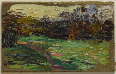 Gabriele Münter (German, 1877-1962). <em>Nightfall in St. Cloud (Abend im Park)</em>, 1906. Oil on paperboard mounted on pulpboard, 3 15/16 x 6 1/2 in. (10 x 16.5 cm). Brooklyn Museum, Bequest of William K. Jacobs, Jr., 1992.107.29 (Photo: Brooklyn Museum, 1992.107.29_PS9.jpg)