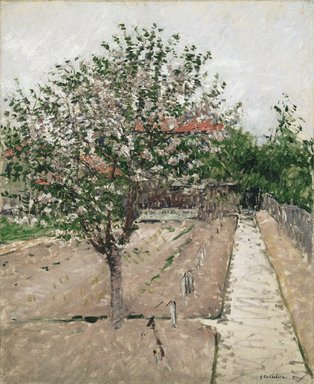 Gustave Caillebotte (French, 1848-1894). <em>Apple Tree in Bloom (Pommier en fleurs)</em>, ca. 1885. Oil on canvas, 28 7/8 x 23 5/8 in. (73.3 x 60 cm). Brooklyn Museum, Bequest of William K. Jacobs, Jr., 1992.107.2 (Photo: Brooklyn Museum, 1992.107.2_colorcorrected_SL1.jpg)