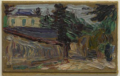 Gabriele Münter (German, 1877-1962). <em>Countryside Near Paris (Bei Paris II)</em>, 1907. Oil on paperboard mounted on pulpboard, 3 15/16 x 6 1/2 in. (10 x 16.5 cm). Brooklyn Museum, Bequest of William K. Jacobs, Jr., 1992.107.30 (Photo: Brooklyn Museum, 1992.107.30_PS9.jpg)