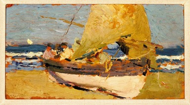 Joaquín Sorolla y Bastida (Spanish, 1863-1923). <em>Beach at Valencia (Playa de Valencia)</em>, ca. 1908. Oil on wood panel, 5 1/4 x 10 1/2 in. (13.3 x 26.7 cm). Brooklyn Museum, Bequest of William K. Jacobs, Jr., 1992.107.36 (Photo: Brooklyn Museum, 1992.107.36_SL3.jpg)