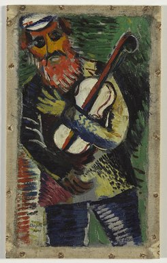 Marc Chagall (French, born Russia, 1887-1985). <em>The Musician (Le Musicien)</em>, ca. 1912-1914. Oil on canvas, 9 3/8 x 5 3/8 in. (23.8 x 13.7 cm). Brooklyn Museum, Bequest of William K. Jacobs, Jr., 1992.107.3 (Photo: Brooklyn Museum, 1992.107.3_PS9.jpg)
