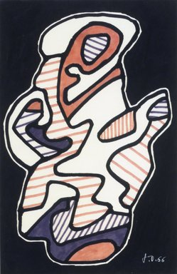 Jean Dubuffet (French, 1901-1985). <em>La Cafetiere</em>, 1966. Felt tip pen on paper, 9 3/4 x 6 7/16 in. (24.8 x 16.4 cm). Brooklyn Museum, Bequest of William K. Jacobs, Jr., 1992.107.7. © artist or artist's estate (Photo: Brooklyn Museum, 1992.107.7_transpc002.jpg)