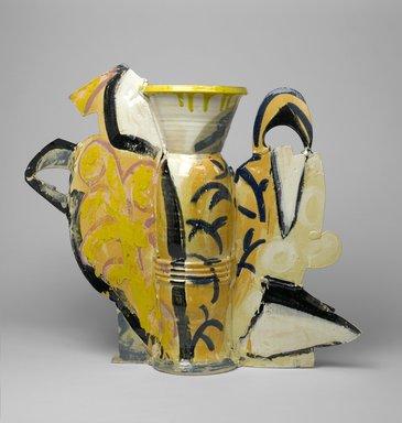 Betty Woodman (American, 1930-2018). <em>Still Life Vase #10</em>, 1990. Glazed earthenware, 32 1/2 x 39 3/4 x 10 1/2 in. (82.6 x 101 x 26.7 cm). Brooklyn Museum, Gift of Laurence Shopmaker in memory of Scott Burton , 1992.109. © artist or artist's estate (Photo: Brooklyn Museum, 1992.109_side1_PS2.jpg)