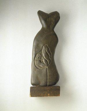 John B. Flannagan (American, 1895-1942). <em>Jonah and the Whale: Rebirth Motif</em>, 1937. Bluestone with wood base, 33 1/2 × 11 1/4 × 6 in., 61.5 lb. (85.1 × 28.6 × 15.2 cm, 27.9kg). Brooklyn Museum, Bequest of Edith and Milton Lowenthal, 1992.11.12a-b (Photo: Brooklyn Museum, 1992.11.12_SL1.jpg)