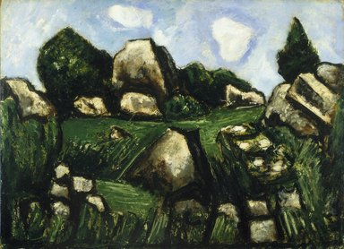 Marsden Hartley (American, 1877-1943). <em>Green Landscape with Rocks, No. 2</em>, 1935-1936. Oil on academy board, 13 x 17 7/8 in. (33 x 45.4 cm). Brooklyn Museum, Bequest of Edith and Milton Lowenthal, 1992.11.14. © artist or artist's estate (Photo: Brooklyn Museum, 1992.11.14_SL1.jpg)