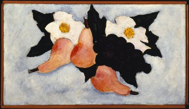 Marsden Hartley (American, 1877-1943). <em>Three Pears, Grapes, and White Flowers</em>, 1936. Oil on canvas, 10 1/2 x 18 in. (26.7 x 45.7 cm). Brooklyn Museum, Bequest of Edith and Milton Lowenthal, 1992.11.17. © artist or artist's estate (Photo: Brooklyn Museum, 1992.11.17_SL3.jpg)