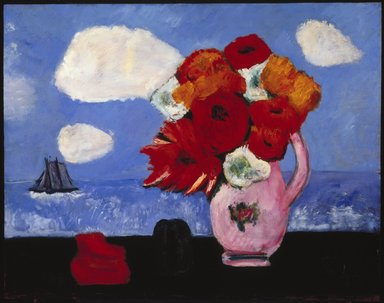 Marsden Hartley (American, 1877-1943). <em>Summer Clouds and Flowers</em>, 1942. Oil on fabricated board, 22 x 28 in. (55.9 x 71.1 cm). Brooklyn Museum, Bequest of Edith and Milton Lowenthal, 1992.11.19. © artist or artist's estate (Photo: Brooklyn Museum, 1992.11.19_SL1.jpg)