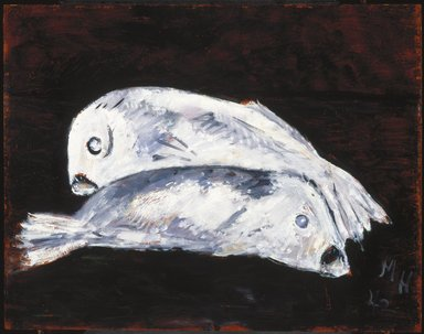 Marsden Hartley (American, 1877-1943). <em>White Cod</em>, 1942. Oil on composition board, 22 x 28 in. (55.9 x 71.1 cm). Brooklyn Museum, Bequest of Edith and Milton Lowenthal, 1992.11.20. © artist or artist's estate (Photo: Brooklyn Museum, 1992.11.20_SL1.jpg)