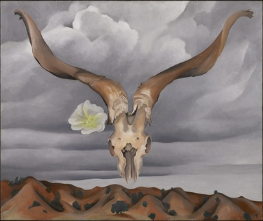Georgia O'Keeffe (American, 1887-1986). <em>Ram's Head, White Hollyhock-Hills (Ram's Head and White Hollyhock, New Mexico)</em>, 1935. Oil on canvas, 30 x 36in. (76.2 x 91.4cm). Brooklyn Museum, Bequest of Edith and Milton Lowenthal, 1992.11.28 (Photo: Brooklyn Museum, 1992.11.28_PS11.jpg)