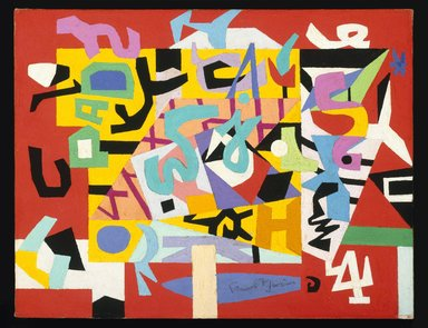 Stuart Davis (American, 1892-1964). <em>Pad No. 4</em>, 1947. Oil on canvas, 14 x 18 in. (35.6 x 45.7 cm). Brooklyn Museum, Bequest of Edith and Milton Lowenthal, 1992.11.5 (Photo: Brooklyn Museum, 1992.11.5_SL1.jpg)
