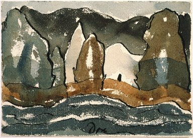 Arthur G. Dove (American, 1880-1946). <em>Untitled</em>, ca. 1938. Watercolor washes and black ink on cream, moderately thick, rough-textured wove paper, Sheet: 5 x 7 in. (12.7 x 17.8 cm). Brooklyn Museum, Purchased with funds given in memory of Priscilla Crosby Lewis and Gift of the American Art Council, 1992.112. © artist or artist's estate (Photo: Brooklyn Museum, 1992.112_SL1.jpg)