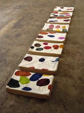 Polly Apfelbaum (American, born 1956). <em>The Dwarves without Snow White</em>, 1992. 8 boxes and lids, stretched crushed velvet, dye, Each: 27 x 15 1/2 x 3 1/2 in. (68.6 x 39.4 x 8.9 cm). Brooklyn Museum, Gift of the Contemporary Art Council, 1992.113.1a-c-.8a-c. © artist or artist's estate (Photo: Brooklyn Museum, 1992.113.1a-c-.8a-c_SL1.jpg)