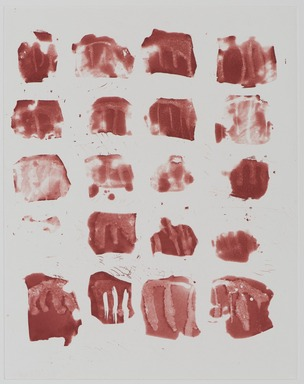 Pat Steir (American, born 1940). <em>Little Red Shapes</em>, 1991. Soapground, sugarlift and spit bite aquatint etching on paper, sheet: 25 x 18 7/8 in. (63.5 x 47.9 cm). Brooklyn Museum, Gift of the Community Committee of the Brooklyn Museum, 1992.116.4. © artist or artist's estate (Photo: Brooklyn Museum, 1992.116.4_PS11.jpg)
