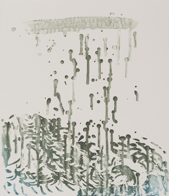 Pat Steir (American, born 1940). <em>Raindrops</em>, 1991. Soapground, sugarlift and spit bite aquatint on paper, sheet: 24 1/2 x 19 1/4 in. (62.2 x 48.9 cm). Brooklyn Museum, Gift of the Community Committee of the Brooklyn Museum, 1992.116.8. © artist or artist's estate (Photo: Brooklyn Museum, 1992.116.8_PS11.jpg)