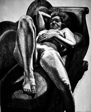 Philip Pearlstein (American, born 1924). <em>Reclining Nude on Green Couch</em>, 1971. Color lithograph on Arches cover paper, 26 15/16 x 22 3/8 in. (68.4 x 56.8 cm). Brooklyn Museum, Gift of Laurence Shopmaker in memory of Scott Burton, 1992.123. © artist or artist's estate (Photo: Brooklyn Museum, 1992.123_bw.jpg)