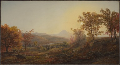Jasper Francis Cropsey (American, 1823-1900). <em>Autumn at Mount Chocorua</em>, 1869. Oil on canvas, 23 13/16 x 44 1/4 in. (60.5 x 112.4 cm). Brooklyn Museum, Gift of Mary Stewart Bierstadt, by exchange, Dick S. Ramsay Fund, and Carll H. de Silver Fund, 1992.12 (Photo: , 1992.12_PS9.jpg)