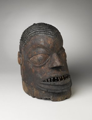 Yorùbá. <em>Helmet Mask (Igbudu)</em>, 19th century. Wood, metal, pigment, 11 1/4  x  9  3/4  x 13 1/2 in. Brooklyn Museum, Gift of Drs. John I. and Nicole Dintenfass, 1992.135.2. Creative Commons-BY (Photo: Brooklyn Museum, 1992.135.2_threequarter_PS4.jpg)