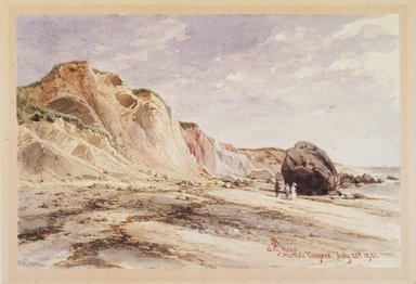 James David Smillie (American, 1833-1909). <em>Gay Head, Martha's Vineyard</em>, 1873. Transparent watercolor with touches of opaque watercolor over graphite on cream, moderately thick, moderately textured wove paper, 6 7/8 x 10 3/8 in. (17.5 x 26.4 cm). Brooklyn Museum, Purchased with funds given in memory of Thomas A. Donnelly, 1992.14.2 (Photo: Brooklyn Museum, 1992.14.2_transp455.jpg)