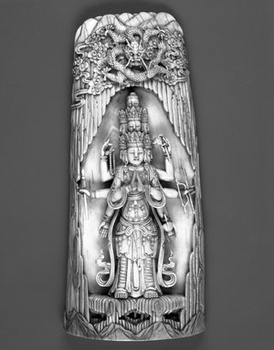 <em>Eleven-Headed Avalokiteshvara</em>. Ivory, 8 7/8 x 4 in. (22.5 x 10.2 cm). Brooklyn Museum, Gift of Joanne Williams Carter and Robert  L. Carter, 1992.141. Creative Commons-BY (Photo: Brooklyn Museum, 1992.141_front_bw.jpg)