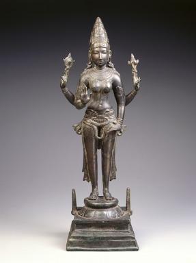 <em>Standing Durga</em>, ca. 970. Bronze, 22 1/2 x 7 7/8 x 6 5/8 in., 25 lb. (57.2 x 20 x 16.8 cm, 11.34kg). Brooklyn Museum, Gift of Georgia and Michael de Havenon, 1992.142. Creative Commons-BY (Photo: Brooklyn Museum, 1992.142_SL1.jpg)