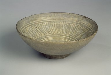 <em>Bowl</em>, 15th century. Buncheong ware, stoneware with gray glaze, Height: 2 1/2 in. (6.3 cm). Brooklyn Museum, Gift of Mrs. John M. Lyden, 1992.148.1. Creative Commons-BY (Photo: Brooklyn Museum, 1992.148.1.jpg)