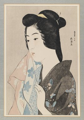 Hashiguchi Goyo (Japanese, 1880-1921). <em>Woman with a Towel (Portrait of Hisae)</em>, October, 1920. Color woodblock print on paper, 16 1/4 x 10 3/4 in. (41.3 x 27.3 cm). Brooklyn Museum, Gift of Dr. Eleanor Z. Wallace in memory of her husband, Dr. Stanley L. Wallace, 1992.150.2 (Photo: Brooklyn Museum, 1992.150.2_IMLS_PS3.jpg)