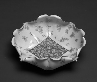 Willets Manufacturing Company (Trenton, New Jersey,1879-1908). <em>Bowl</em>, ca. 1890. Porcelain, 3 3/8 x 9 1/2 x 8 in.  (8.6 x 24.1 x 20.3 cm). Brooklyn Museum, Gift of Barbara and David Goldberg, 1992.158.3. Creative Commons-BY (Photo: Brooklyn Museum, 1992.158.3_bw.jpg)