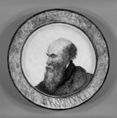 John Mackie Falconer (American, 1820-1903). <em>Plate</em>, ca. 1875. Porcelain with hand-painted decoration, 1 1/8 x 9 x 9 in.  (2.9 x 22.9 x 22.9 cm). Brooklyn Museum, Gift of Emma and Jay Lewis, 1992.163.2. Creative Commons-BY (Photo: Brooklyn Museum, 1992.163.2_bw.jpg)
