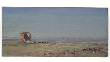 William Trost Richards (American, 1833-1905). <em>Torre de Schiavi</em>, 1867. Watercolor on paper, 4 9/16 x 9 3/4 in. (11.6 x 24.8 cm). Brooklyn Museum, Gift in memory of Grace Richards Conant, 1992.170.2 (Photo: Brooklyn Museum, 1992.170.2_transp3359.jpg)