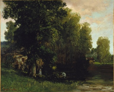 Gustave Courbet (French, 1819-1877). <em>The Edge of the Pool (Au Bord de l'Etang)</em>, 1867. Oil on canvas, 31 3/4 x 39 3/8 in. (80.6 x 100 cm). Brooklyn Museum, Gift of Mrs. Horace O. Havemeyer, Mrs. Frederic B. Pratt, and Hyman Brown, by exchange, 1992.17 (Photo: Brooklyn Museum, 1992.17_SL1.jpg)