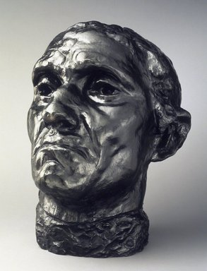 Auguste Rodin (French, 1840-1917). <em>Jean d'Aire, Colossal Head (Jean d'Aire, tête colossale)</em>, ca. 1885, enlarged 1908-1909; cast after 1971. Bronze, 25 1/2 x 21 3/4 x 20 1/2 in. (64.8 x 55.2 x 52.1 cm). Brooklyn Museum, Gift of Iris and B. Gerald Cantor, 1992.182. Creative Commons-BY (Photo: Brooklyn Museum, 1992.182.jpg)