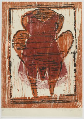 Duston Spear. <em>Potentate</em>, 1992. Woodcut on paper, sheet: 25 3/4 x 18 1/2 in. (65.4 x 47 cm). Brooklyn Museum, Gift of Walter W. Sawyer, 1992.185.15. © artist or artist's estate (Photo: Brooklyn Museum, 1992.185.15_PS4.jpg)