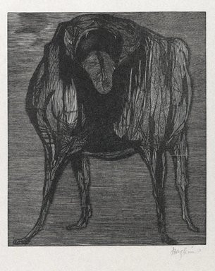 Leonard Baskin (American, 1922-2000). <em>Love Me, Love My Dog</em>, 1958. Wood engraving on thin white wove paper, Sheet: 12 x 15 1/16 in. (30.5 x 38.3 cm). Brooklyn Museum, Gift of Estelle and Jay Sam Unger, 1992.187.3. © artist or artist's estate (Photo: Brooklyn Museum, 1992.187.3_PS6.jpg)