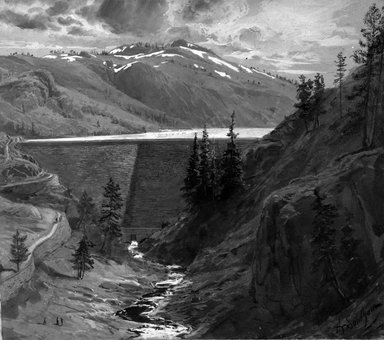 "Henry Sandham (Canadian, 1842-1910). <em>Hydraulic Mining - Big Canyon Dam (Illustration for ""Century Magazine"")</em>, ca. 1889. Ink and wash heightened with white and ochre, image: 9 x 10 in. (22.9 x 25.4 cm). Brooklyn Museum, Gift of David Lewis, 1992.189 (Photo: Brooklyn Museum, 1992.189_bw.jpg)"