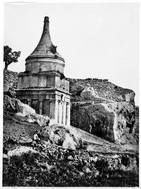 Francis Frith (British, 1822-1898). <em>Absalom's Tomb, Jerusalem</em>, ca. 1875-1880. Gelatin silver photograph, image/sheet: 8 x 5 3/4 in. (20.3 x 14.6 cm). Brooklyn Museum, Allan D. Rubenstein Memorial Collection, 1992.194.7 (Photo: Brooklyn Museum, 1992.194.7_bw.jpg)