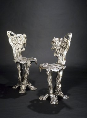 Yves Marthelot (French, born 1949). <em>Side Chair</em>, ca. 1985. Wood with gesso and silvering, 34 x 15 x 17 in.  (86.4 x 38.1 x 43.2 cm). Brooklyn Museum, Gift of Mr. and Mrs. Bruce M. Newman, 1992.205.2. Creative Commons-BY (Photo: , 1992.205.1_1992.205.2_transp469.jpg)