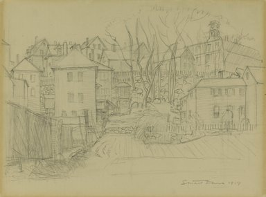 Stuart Davis (American, 1892-1964). <em>Serviceable Boxes Among the Rocks</em>, 1917. Graphite on cream, moderately thick, moderately textured wove paper., Sheet: 14 15/16 x 19 in. (37.9 x 48.3 cm). Brooklyn Museum, Purchased with funds given by Mr. and Mrs. Leonard L. Milberg, 1992.224 (Photo: Brooklyn Museum, 1992.224_PS1.jpg)