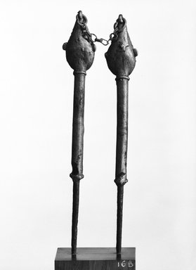 Yorùbá. <em>Pair of Figurated Staffs (Edan Ogboni)</em>, 19th-20th century. Copper alloy, iron, link chain, height a (left): 8 7/8 in. Brooklyn Museum, Gift of Mr. and Mrs. William W. Brill, 1992.24.1a-b. Creative Commons-BY (Photo: Brooklyn Museum, 1992.24.1a-b_bw.jpg)